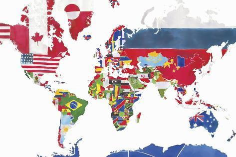Watercolor Map of the World and National Flags Posters by Jennifer ...