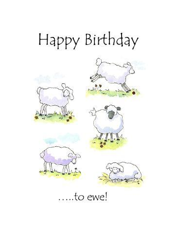 Happy Birthday Sheep Giclee Print By Jennifer Zsolt At Allposters Com