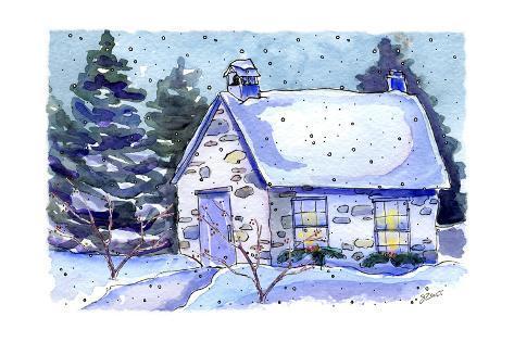 Schoolhouse Night Giclee Print