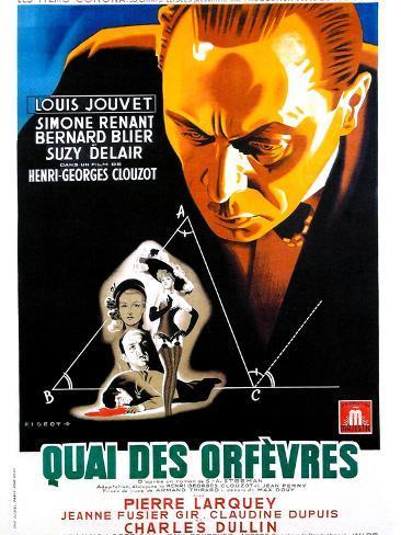 JENNY LAMOUR, (aka QUAI DES ORFEVRES), French poster, Louis Jouvet, 1947 Stampa artistica