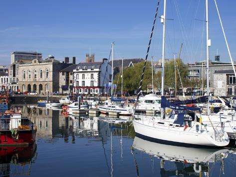 Yachts, the Barbican, Plymouth, Devon, England, United Kingdom, Europe Photographic Print