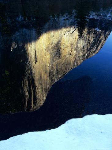 The largest granite rock on Earth reflects in the Merced River Photographic Print
