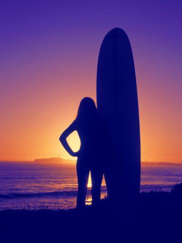 Surfer Girl, Silhouette Photographic Print