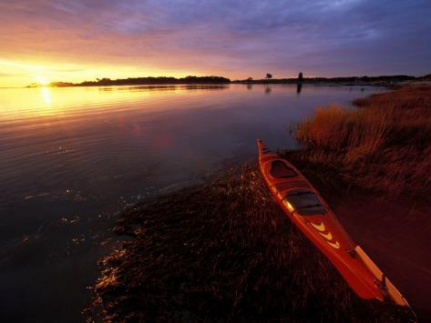 Kayak and Sunrise in Little Harbor in Rye, New Hampshire, USA Photographic Print
