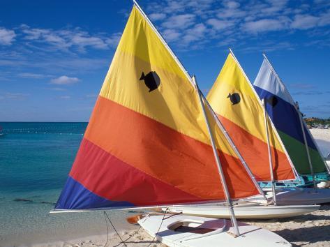 Sailboats on the Beach at Princess Cays, Bahamas Impressão fotográfica