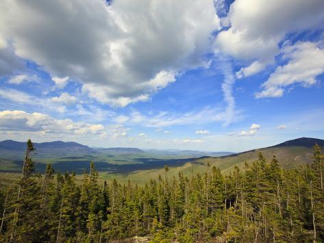 View of Sugarloaf Mountain from the Appalachian Trail on Crocker Mountain in Stratton, Maine, Usa Impressão fotográfica