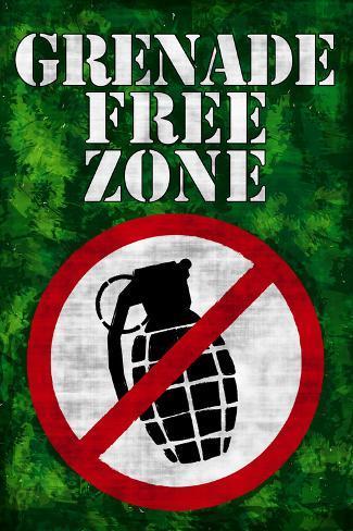Jersey Shore Grenade Free Zone Green TV Plastic Sign Plastic Sign