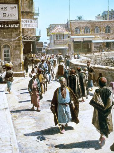 Jerusalem Street Scene Stretched Canvas Print