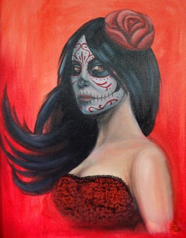 Day of Dead Red Stretched Canvas Print