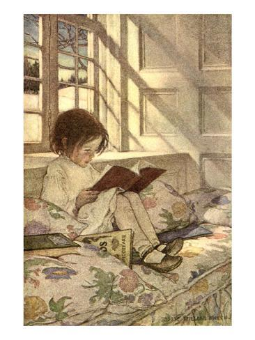 Chlld Reading on Couch, 1905 Giclee Print
