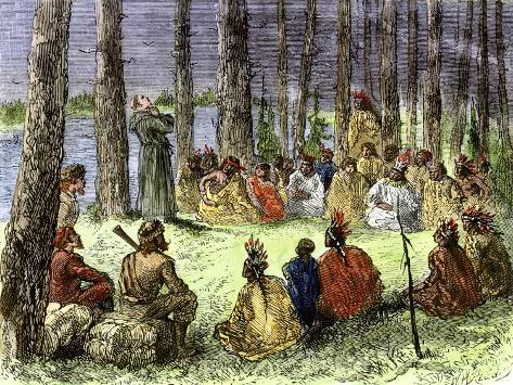 Jesuit Missionary Preaching to Native Americans and Fur Traders in the Wilderness Stampa giclée