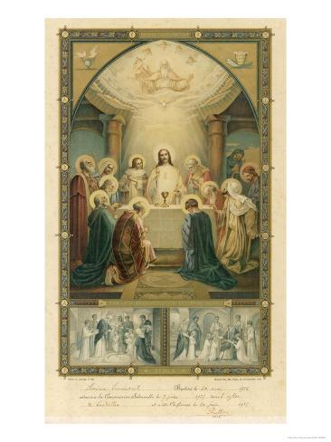 Jesus and His Disciples at the Last Supper Lámina giclée