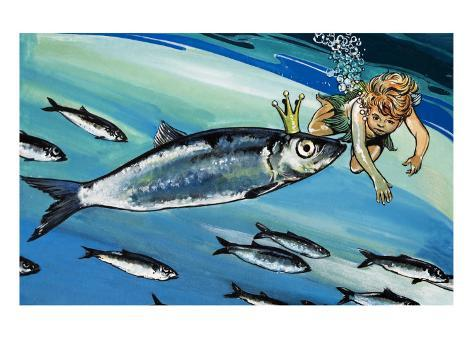 Boy Swimming with a Fish, Illustration from 'The Water Babies' by Charles Kingsley Giclee Print