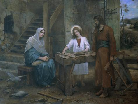 Jesus Helping St. Joseph in His Workshop, Church of St. Joseph, Nazareth, Israel Lámina giclée