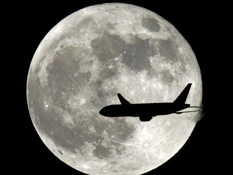Jet Plane Passes in Front of the Full Moon Above Surfside, Florida Photographic Print