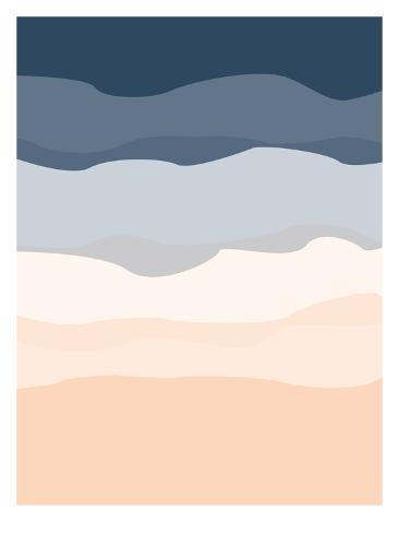 Navy Peach Abstract Art Print