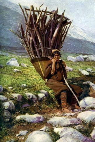 Woman with a Load of Wood, Afghanistan, C1924 Giclee Print