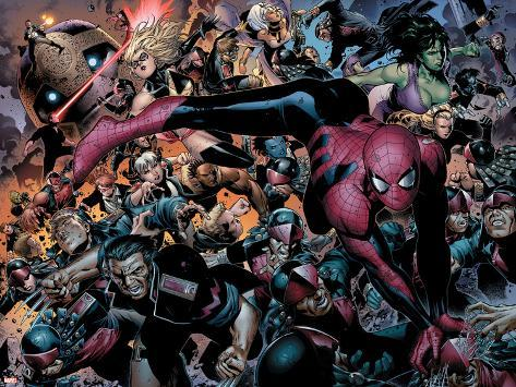 New Avengers No.45 Group: Spider-Man, Wolverine and She-Hulk Poster