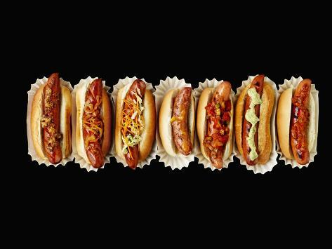 A Row of Hot Dogs Photographic Print