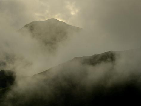 Mist Enshrouded Mountains and Llyn Gwynant Valley Near Beddgelert Photographic Print