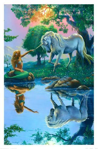 If I Were a Mermaid and You Were a Unicorn Art Print