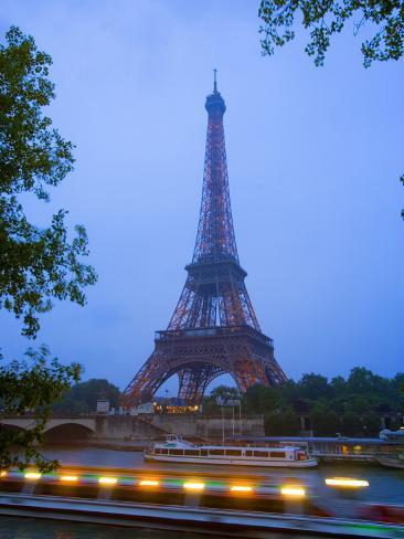 Early Evening View of Eiffel Tower and Tour Boats on the Seine River, Paris, France Photographic Print