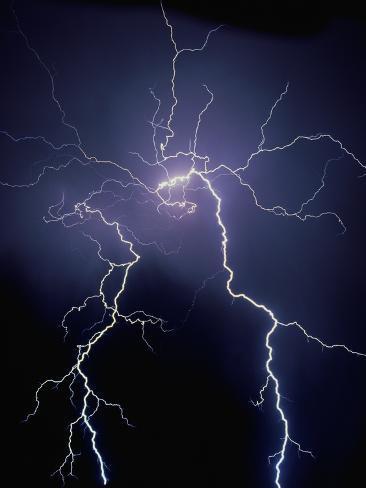 Lightning at Night Photographic Print