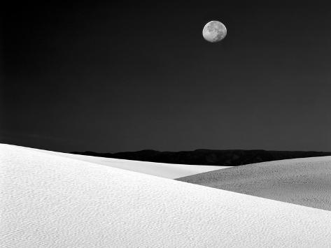 Nighttime with Full Moon Over the Desert, White Sands National Monument, New Mexico, USA Photographic Print