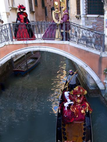 People Dressed in Costumes For the Annual Carnival Festival, Venice, Italy Photographic Print