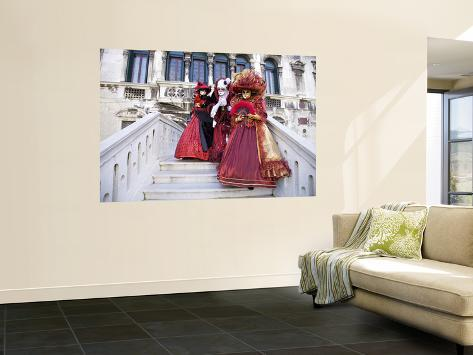 Women Dressed in Costumes For the Annual Carnival Festival, Venice, Italy Wall Mural