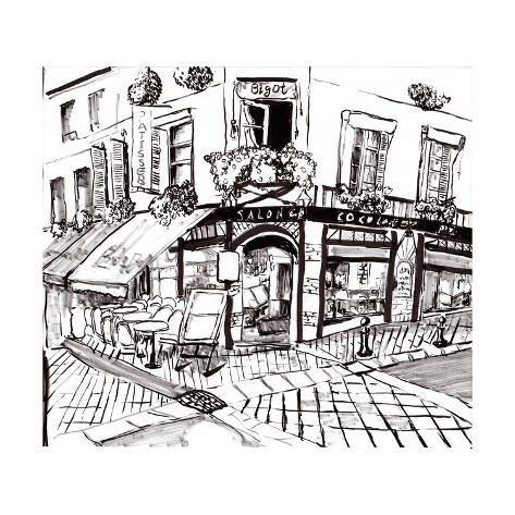 hand draw paris coffee shop prints by jim80. Black Bedroom Furniture Sets. Home Design Ideas