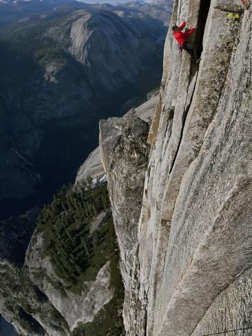 A Climber, Without a Rope, Clings with Fingertips to Half Dome Premium Photographic Print