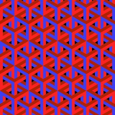 Geometric Optical Art Background in Red and Blue. Art Print