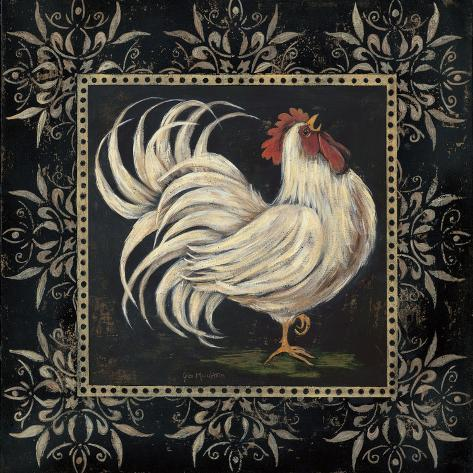 Black and White Rooster I Art Print