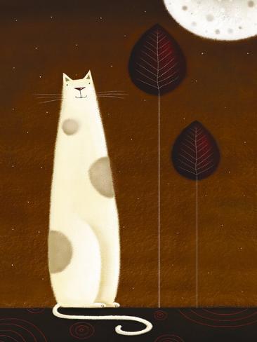 Feline and Two Leaves Lámina