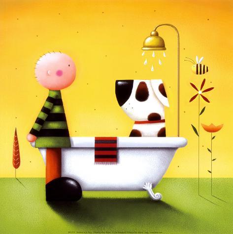 Hora del baño Lámina