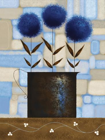 Study of Chrysanthemums in Blue Art Print