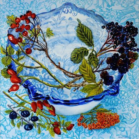 Blue Antique Bowl with Berries, 2010 Giclee Print