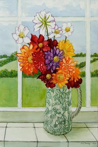 Dahlias on the Cottage Window Sill, 2010 Giclee Print