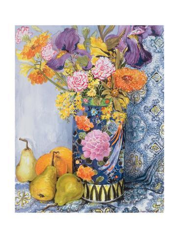 Iris and Pinks in a Japanese Vase with Pears Giclée-vedos