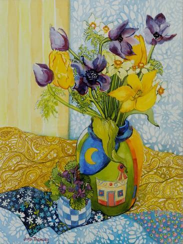 Tulips and Anemones with a Pot of Violets, 2010 Giclee Print