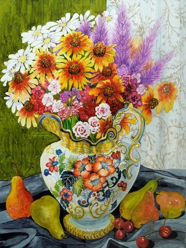 Victorian Jug with Mixed Flowers,Pears and Cherries, 2010 Giclee Print
