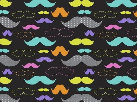 Mixed Mustaches Giclee Print