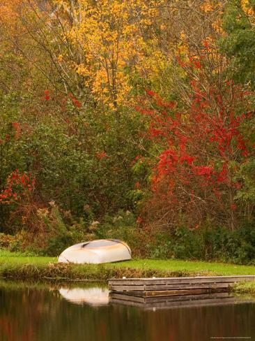Boat at Pond in Rural New England, Maine, USA Photographic Print