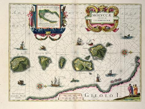 Map Showing the Molucca Islands Off Halmahera, 1640 Giclee Print