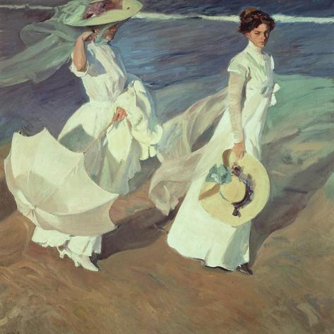 women walking on the beach 1909 impressão giclée por joaquín