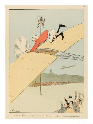 Racegoers Will Find That Airborne Jockeys Will Bring a New Dimension of Excitement to Their Sport Giclee Print