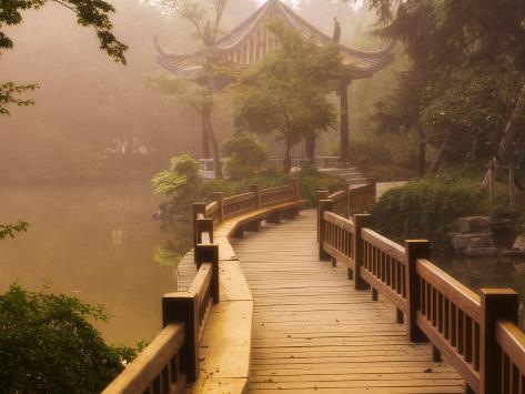 Footpath and Pavillon, West Lake, Hangzhou, Zhejiang Province, China, Asia Photographic Print