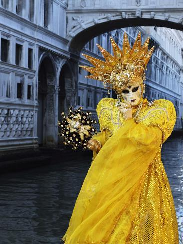 Masked Figure in Costume at the 2012 Carnival, with Ponte Di Sospiri in the Background, Venice, Ven Photographic Print