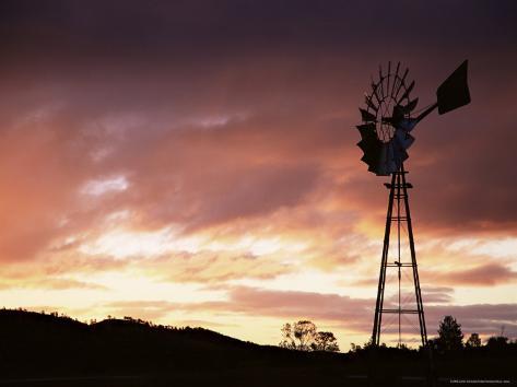 Windmill (Wind Pump) at Sunset, South Australia, Australia, Pacific Photographic Print
